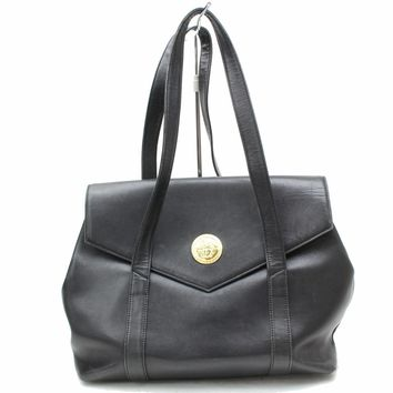Authentic Versace Tote Bag Black Leather 112807