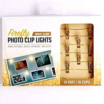 Gold Glittery Firefly LED Photo Clip String Lights