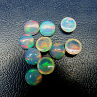 opal cabochon 3mm calibrated size Awesome Strong Flashy multi fire welo opal Ethiopian Opal cabochon round natural loose gemstone - FOR ONE