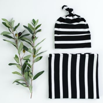 Bold Stripe Blanket and Hat