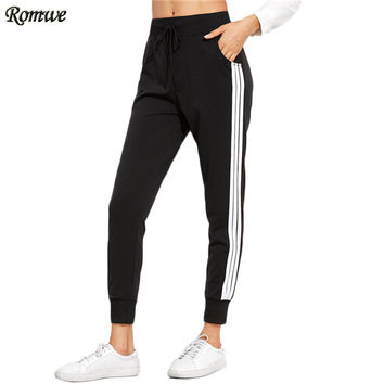 ROMWE Sweat Pants Women Autumn Drawstring Mid Waist Loose Trousers Black Striped Side With Pockets Casual Pants