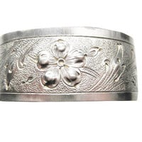 Hand Chased Sterling Floral Cuff Bracelet