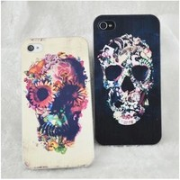 Iphone4/4S/5 Case- Flower Skull
