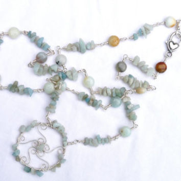 Wire Work Necklace and Pendant with Amazonite, Silver, Wire wrapped, Dream Catcher, Hand forged, Hand Crafted, Ooak