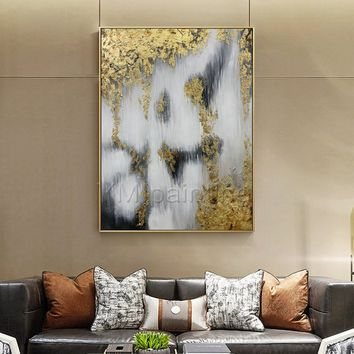 Acrylic Paintings On Canvas black and Gold abstract original extra Large wall paintings Abstract art quadro home decor cuadros abstractos