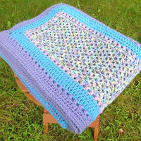 "Vintage crochet blanket afghan throw in blue and lavender 67"" x 62"""