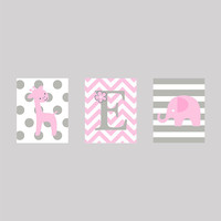 Instant Download Set of 3 Monogram Letter with Giraffe and Elephant in Gray and Pink Prints Digital Art Nursery Decor CUSTOM COLORS  8x10