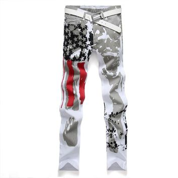 Casual American US Flag Printe Jeans Pants Men Graffiti Print Stretch Jean UK