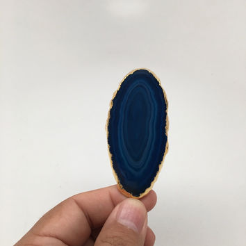 96 cts Blue Agate Druzy Slice Geode Pendant Gold Plated From Brazil, Bp1038