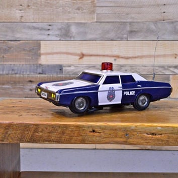 Vintage Police Car Tin Toy, WORKS, 1960s Tin Toy Police Car, Highway Patrol Police Car