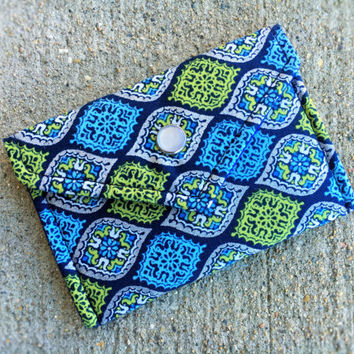 Business Card Holder, Credit Card Holder, Handmade Gift for Coworker Blue Green Teardrop Metallic