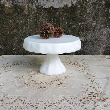Vintage Anchor Hocking White Milk Glass Paneled Grape Pedestal Cake Stand Plate