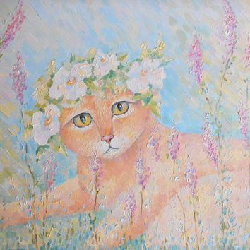 Funny Ginger Cat in Grass Oil Painting Floral Wall Art Memorial Custom Pet Portrait Paint from Photo Still Life Nature Flower Wreath Realism