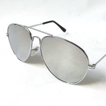 vintage 1980's aviator sunglasses silver metal wire frames mirror lenses sun glasses eyewear pilot cop oversized mens womens retro modern