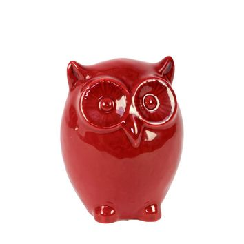 Ceramic Gloss Finish Red Standing Owl Figurine