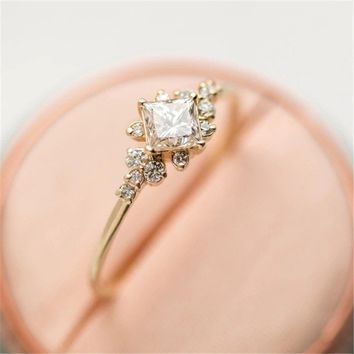 14K Tiny Baguette Diamond Ring Rose Gold Solid Gold White Gold Stacking Ring Dainty Ring Stackable Ring Gift For Women Size 6-10