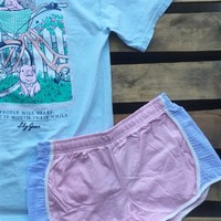 Pink With Light Blue Seersucker Shorties by Lily Grace