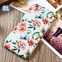 3D Relief Flower Phone Cases For iphone 7 Case Retro Luminous Peony Floral Hard Cover For iphone 7 6 6s Plus Coque Fundas -03129
