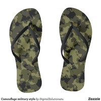 Camouflage military style flip flops