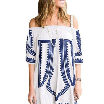 PEAP78W White Bohemian Vibe Geometric Print Off The Shoulder Beach Dress