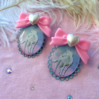 Pretty Unicorn Large Cameo Earrings