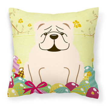 Easter Eggs English Bulldog White Fabric Decorative Pillow BB6123PW1414