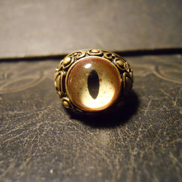 Green Alligator Eye Taxidermy Glass Eye Ring
