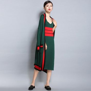 17Spring autumn NEW women's Wool blended knit Cardigan long jacket loose fashion Sweater stripe color vest Long Skirt Two pieces