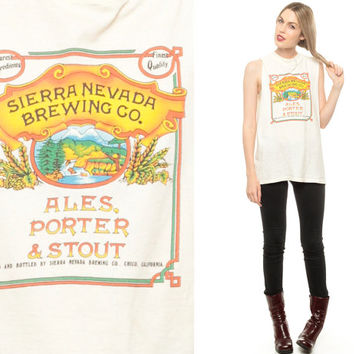 BEER Shirt Tank Top SIERRA NEVADA Brewing Co Muscle Tee 80s Ales Porter Stout Sleeveless Hipster Cutoff Vintage Women White Small Medium