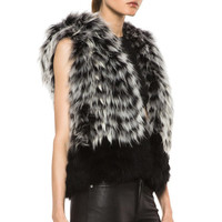 Yigal Azrouel | Raccoon Hooded Fur Vest in Slate Optic Multi www.FORWARDbyelysewalker.com