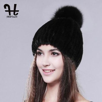 ONETOW FURTALK real mink fur hats for women winter knitted mink fur cap with fox fur pom poms 2016 hot sale brand new warm female hat