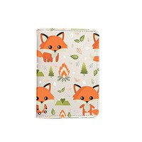 Cute Fox Pattern Leather Passport Cover - Vintage Passport Wallet - Travel Accessory Gift - Travel Wallet for Women and Men _Mishkaa