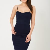 Midi Bodycon Dress in Navy