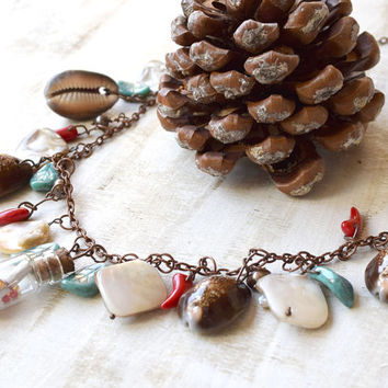 Glass Bottle necklace-sea shell necklace-artisan beach jewelry-Ocean African-message in a bottle-Ethnic-mermaid jewelry-Ethno-Native jewelry