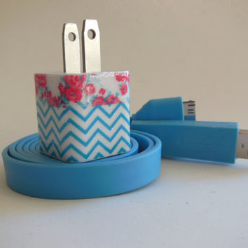 Decorated iPhone Charger with Blue Chevron and Rose Trim- Blue Wide Noodle USB Cable