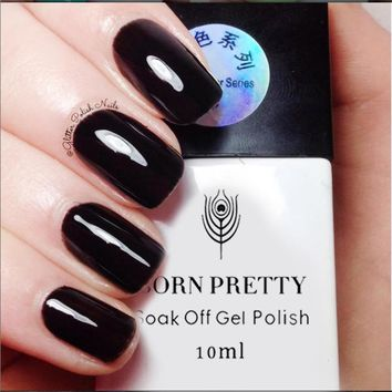 BORN PRETTY 10ml Nail Gel Polish Black Soak Off UV Nail Gel Polish Cured by UV Led Lamp Manicure