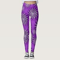 Silver spinning stars on purple color background leggings