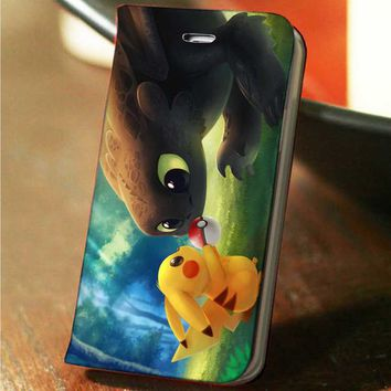 Pikachu Pokemon and Toothless How To Train Your Dragon custom wallet case for iphone 4,4s,5,5s,5c,6 and samsung galaxy s3,s4,s5