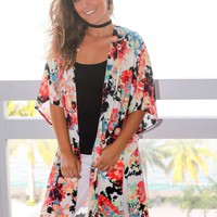 Ivory and Orange Floral Kimono