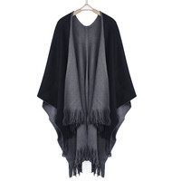Feitong  Winter Women Overwear Coat Oversized Knitted Cashmere Poncho Capes Duplex Shawl Cardigans Sweater With Tassel