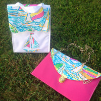 flash sale! Lilly Pulitzer Limited Edition Deluxe You Gotta Regatta Scallop Lunch Bag