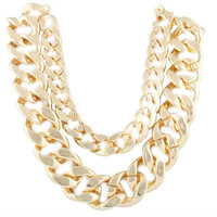 Ladies Gold 21 Inch Adjustable Thick Double Cuban Link Chain Necklace
