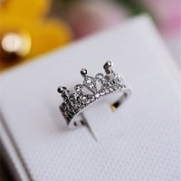 MP Rhodium Plated Lovely Crown Shape White CZ Setting Ring Size US 5