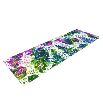 "Ebi Emporium ""Prismatic Posy III"" Purple Green Yoga Mat"