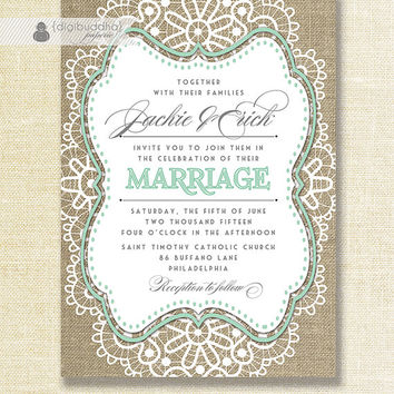 "Lace Burlap Wedding Invitation Shabby Chic Pastel Mint Green Rustic Doily Linen 5x7"" Printable DIY Digital or Printed - Jackie Style"