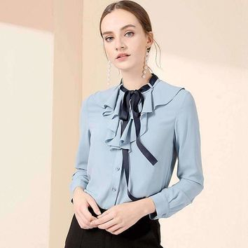 Silk Blouse Women Lightweight Fabric Solid Ruffles Lace-Up O-Neck Long-Sleeves Formal Tops