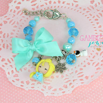 Frozen jewelry, Elsa bracelet, Elsa jewelry, Disney Frozen, Frozen birthday party, Clay Elsa charm, Frozen necklace