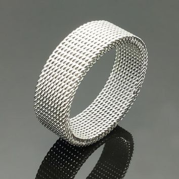 Free Shipping 8mm Wide Stainless Steel Ring Titanium Couple Rings Deformable Mesh Ring O Men Jewelry Wedding Rings Punk