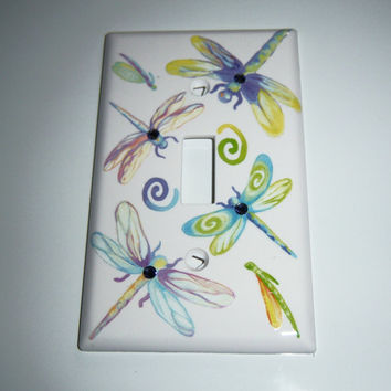 Pastel dragonflies single light switch cover - swarovski crystals