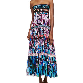 Women's Printed Tiered Full-Skirt Dress, Blue Multi - Jean Paul Gaultier - Blue multi
